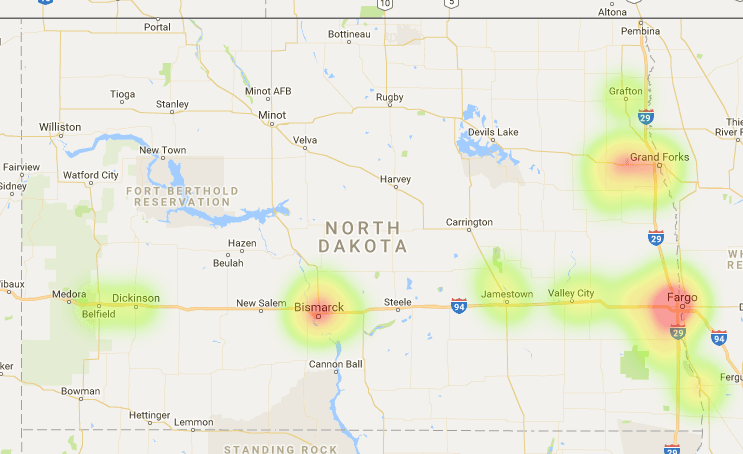 North Dakota Coverage Map