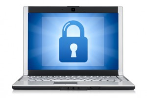 Computer security. Isolated on white with clipping path for laptop.
