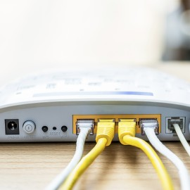 Modem router network hub with cable connecting